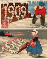 19 Année, Date, Millesime 1909 - Homme Femme Neige Hold To Light X 2 (transparent) - Nouvel An