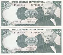 PAREJA CORRELATIVA DE VENEZUELA DE 20 BOLIVARES DEL AÑO 1989 SIN CIRCULAR  (BANKNOTE) UNCIRCULATED (BANKNOTE) - Venezuela