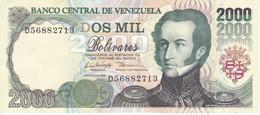 BILLETE DE VENEZUELA DE 2000 BOLIVARES DE AGOSTO-6-1998 SIN CIRCULAR  (BANKNOTE) UNCIRCULATED - Venezuela