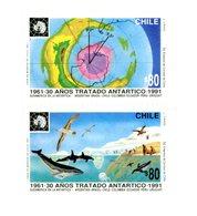 Chili 1991-Traité De L'antarctique Baleine,oiseaux-YT 1070/1***MNH - Fische