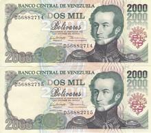 PAREJA CORRELATIVA DE VENEZUELA DE 2000 BOLIVARES DE AGOSTO-6-1998 SIN CIRCULAR  (BANKNOTE) UNCIRCULATED - Venezuela