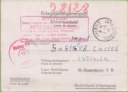 Lettre-Réponse à Prisonnier De Guerre Avec Consignes En Rouge De VALDOIE (90) à Stalag VB 31/05/42 - Marcophilie (Lettres)
