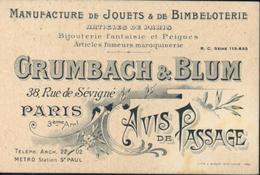 Carte Publicitaire Grumbach Et Blum Manufacture Jouets Bimbeloterie Bijouterie Articles Fumeurs Paris Avis De Passage - Marcophilie (Lettres)