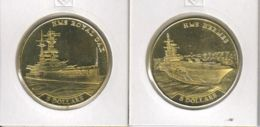 Nauru. 2 Coins On 5 Dollars. Ships. Royal Ouk Ship And Hermes Aircraft Carrier. UNC. 2016 - Nauru