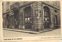 SAINT MALO - Café-Bar De La Marine, Carte Double Format 14cm X 9,5cm (fermée). - Frankrijk