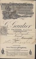Imprimé Publicité Gautier Andernos Gironde Expédition D'huîtres Fraîches  YT 107 Blanc 1ct Gris - Publicités