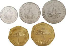 Haiti. Set, Set Of Coins. 5, 20, 50 Centime, 1, 5 Gourdes. UNC. 1995 - 2011 - Haïti