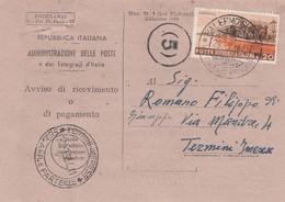 PALERMO  / TERMINI IMERESE - Card _ Cartolina Postale - Commemorativo Lire 20 Isolato _  29.3.1954 - 6. 1946-.. Repubblica