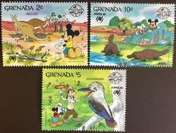 Grenada 1988 Disney Sydpex Animals Birds 3 Values MNH - Grenada (1974-...)