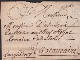 MARQUE POSTALE  PAS-DE-CALAIS GRIFFE D'HESDIN SUR LETTRE AVEC TEXTE DE 1767 TB - Marcophilie (Lettres)