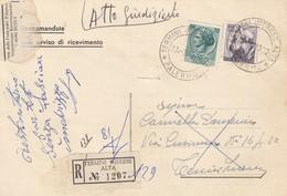 TERMINI IMERESE /  Città - Card _ Cartolina Racc. Avviso Di Ric. - Italia A Lavoro Lire 100 + 70 Siracusana _  22.3.1962 - 6. 1946-.. Repubblica