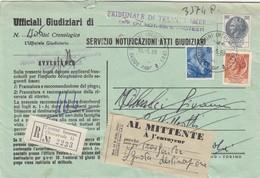 TERMINI IMERESE /  CERDA - Cover_ Lett.  Racc. ATTI GIUDIZIARI - Italia A Lavoro Lire 70 + Sirac. 200 +80  _  10.5.1969 - 6. 1946-.. Repubblica