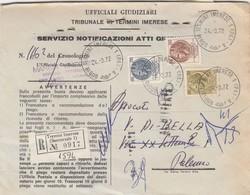 TERMINI IMERESE / PALERMO - Cover_ Lett.  Racc. ATTI GIUDIZIARI - Siracusana Lire 200 + 100 + 50 _  24.3.1972 - 6. 1946-.. Repubblica