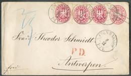 1SilbGr (x3) En Complément Sur Enveloppe E.P. 1SilbGr. Obl. Dc CÖLN Du 9/11 1865 Vers Anvers (BE) - 14911 - Preussen