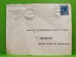 Enveloppe, Princepaute De Monaco 1932 Avec Timbre, Envoyé à Luxembourg. Procureur D'état - Monaco