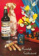 Hartelijk Gefeliciteerd Chess On Table, Alcohol Bottle Flowers Postcard - Gruss Aus.../ Grüsse Aus...