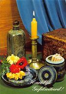 Hartelijk Gefeliciteerd Flowers Candle, Cigarettes Postcard - Gruss Aus.../ Grüsse Aus...