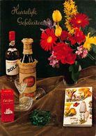 Hartelijk Gefeliciteerd Bols Cacao Bottles Old Spice Flowers In Vase Postcard - Gruss Aus.../ Grüsse Aus...