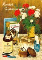 Hartelijk Gefeliciteerd Cognac Joseph Guy, Books Cigarettes Flowers Postcard - Gruss Aus.../ Grüsse Aus...