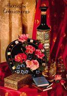 Hartelijk Gefeliciteerd Flowers Bottle Of Whisky Postcard - Gruss Aus.../ Grüsse Aus...