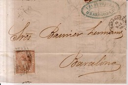 Año 1867 Edifil 96 Isabel II Carta Matasellos Rejilla Cifra15 Zaragoza Membrete Viuda De Fortea - 1850-68 Reino: Isabel II