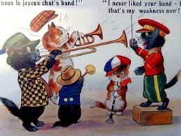 Cpa Chat Humanisé, PETITS CHATS MUSICIENS , JOYEUX CHAT'S BAND ,MUSIC CATS  Orchestra  Dressed Cat  Kitten  Katze - Cats