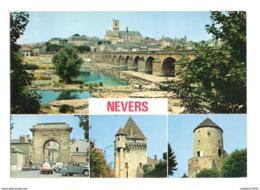 Nevers (58) Le Pont De La Loire ( Nationale 7 ) Et La Cathedrale - Porte De Paris - Porte De Croux - La Tour Goguin - Nevers