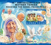 Sierra Leone 2019 Mother Teresa Nobel Peace Prize Pope John Paul Francis S/S SRL191106 - Célébrités
