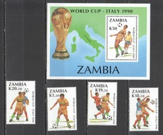 UU091 ONLY ONE IN STOCK ZAMBIA FOOTBALL WORLD CUP ITALY 1990 MICHEL #515-8 BL18 19.5 EU 1SET+1BL MNH - 1990 – Italien