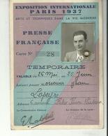 CARTE D EXPOSITION INTERNATIONALE DE PARIS 1937 PRESSE FRANCAISE TEMPORAIRE - Frankrijk