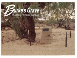 (44) Australia Postcard - (with Flower Stamp) - SA - Burke's (Explorer) Grave In Innamincka - Australia