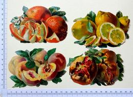 4 CHROMOS DECOUPIS ANCIENS  ...PUB : CACAO PAYRAUD...FRUITS..CITRON..ORANGE ..FIGUE..PECHE - Découpis