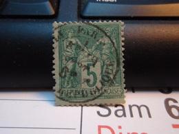 Timbre Sage  5 C Oblitéré. PARIS 188. - 1876-1898 Sage (Type II)
