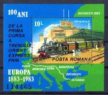 Roumanie - Rumänien 1983 - Centenaire De L Orient Express Mi Bloc 198 Et Yv Bloc 163 MNH - Blocs-feuillets