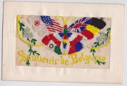 Cpa Brodée Militaire Grande Guerre Papillon Souvenir De Belgique Drapeau Italie Butterfly Flag Embroidered Postcard WW1 - Bélgica