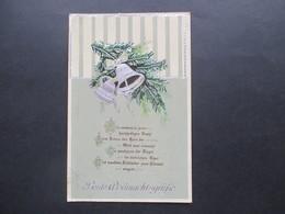 Weihnachtskarte 24.12.1917 Weihnachtslied / Beste Weihnachtsgrüße Tannenzweige Mit Glocken Verlag HWB - Noël