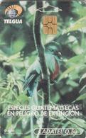 GUATEMALA - Quetzal Bird, Telgua-0010B, Gemplus - GEM5 (Red), Used - Guatemala