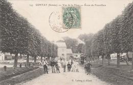 80 - CONTAY (Somme) - Vue De La Place - Route De Franvillers. - Animée. - Francia