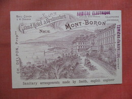 Non Mailable   Advertising  Back-- Grand Hotel & Restaurant   Nice   Ref 3790 - Advertising
