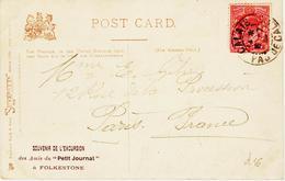 France, De Calais En 1904 , Sur Un Timbre ANGLAis ( De Folkestone à Paris    TB - Poststempel (Briefe)