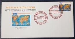 IVORY COAST COTE D'IVOIRE 2019 - RARE SET OF 3 INDIVIDUAL FDC S -  EMS - UPU JOINT ISSUE COMMON DESIGN EMISSION COMMUNE - Emissions Communes