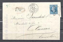 Napoléon III De Paris à Auneau 1865 - Postmark Collection (Covers)