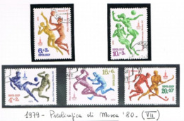 URSS - SG 4896.4900  - 1979  PRE-OLYMPIC 1980   (COMPLET SET OF 5)  - USED°  - RIF. CP - 1923-1991 USSR