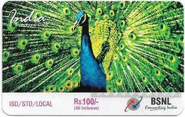 India - BSNL - Peafowl Bird, GSM Refill 100₹, Exp.09.12.2006, Used - India