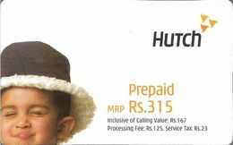 India - Hutch - Boy With Hat And Wince, GSM Refill 315₹, Exp.08.01.2005, Used - India