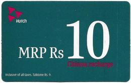 India - Hutch - Chinna Recharge, GSM Refill 10₹, Exp.04.2007, Used - India