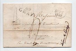 - Marque Linéaire GRAY (Haute-Saône) Pour GUEUGNON (Saône-et-Loire) 10 SEPT 1829 - Taxe Manuscrite 4 Décimes - - Marcofilie (Brieven)