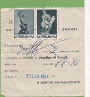 Ticket Accès Musée PALAZZO PITTI  21/07/61 - Variedades Y Curiosidades