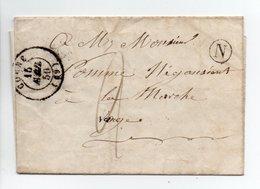 - Boite Rurale BOURBEVELLE Via CORRE (Haute-Saône) Pour LAMARCHE (Vosges) 14 AVRIL 1850 - Taxe Manuscrite 2 Décimes - - Marcofilie (Brieven)
