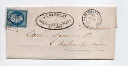- Lettre DAMPIERRE SUR SALON (Haute-Saône) Pour CHALON-SUR-SAÔNE 20 NOV 1861 - 20 C. Bleu Napoléon III Losange PC 1073 - - Marcofilie (Brieven)